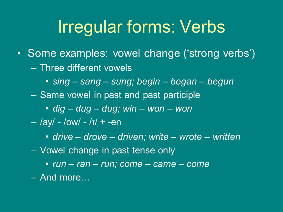 Irregular forms: Verbs