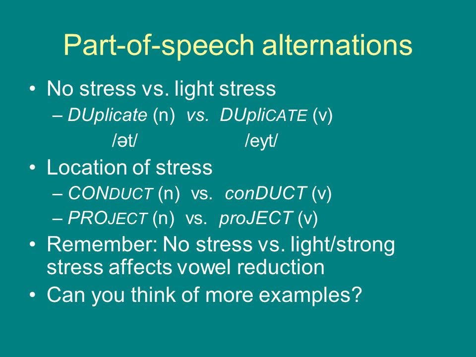 Part-of-speech alternations