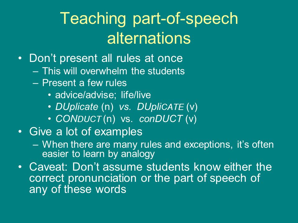 Teaching part-of-speech alternations