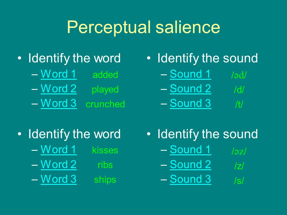 Perceptual salience Identify the word Identify the sound Word 1 Word 2