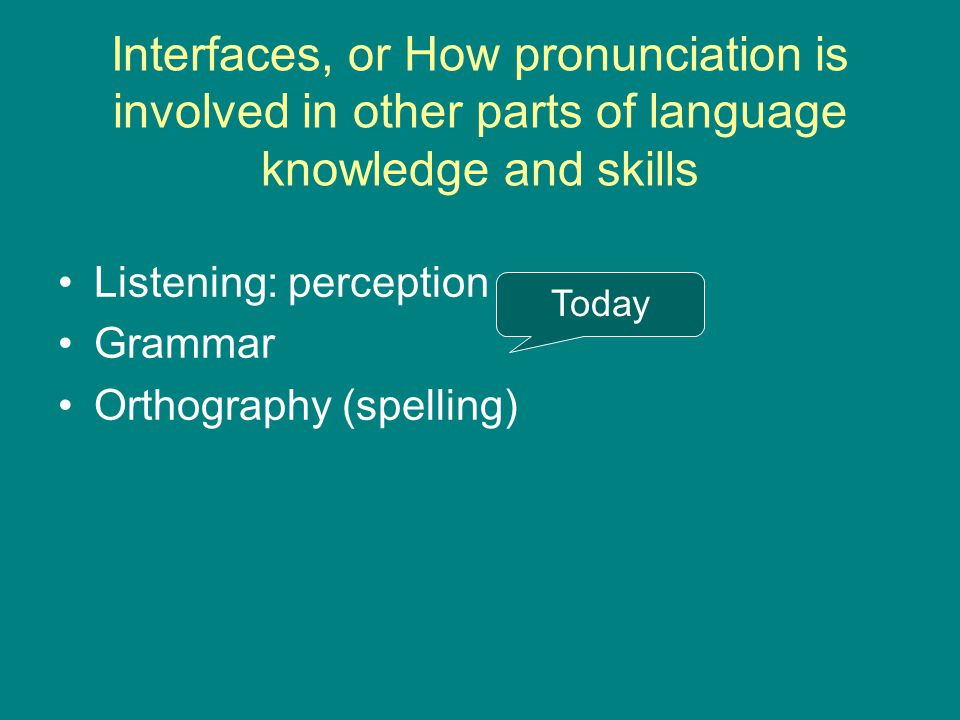 Interfaces, or How pronunciation is involved in other parts of language knowledge and skills