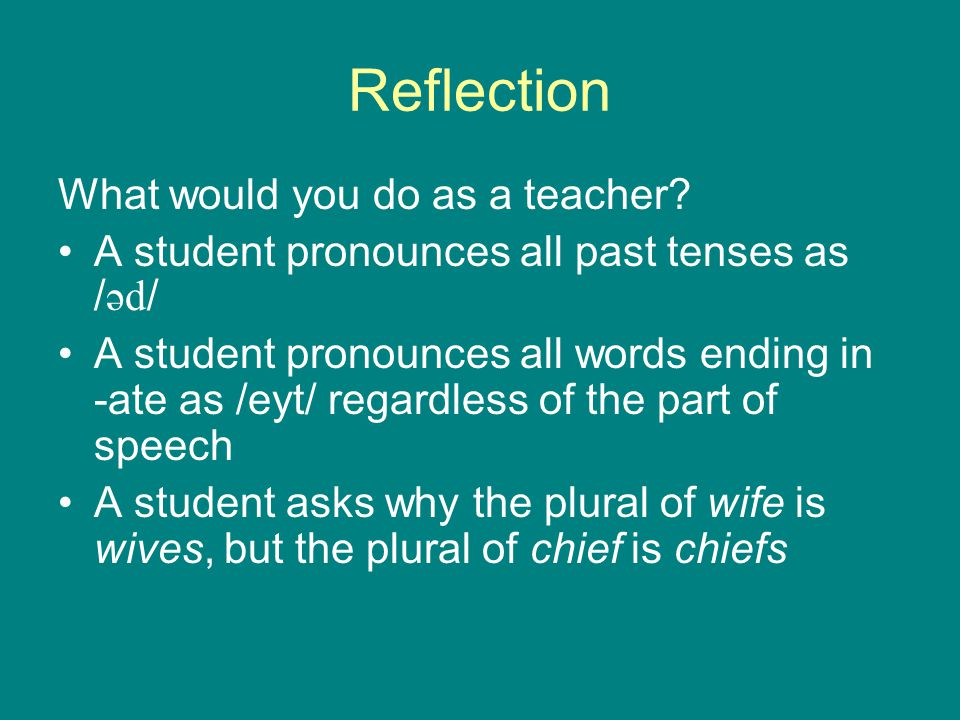 Reflection What would you do as a teacher