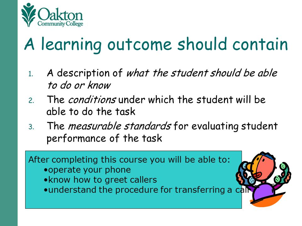 A learning outcome should contain