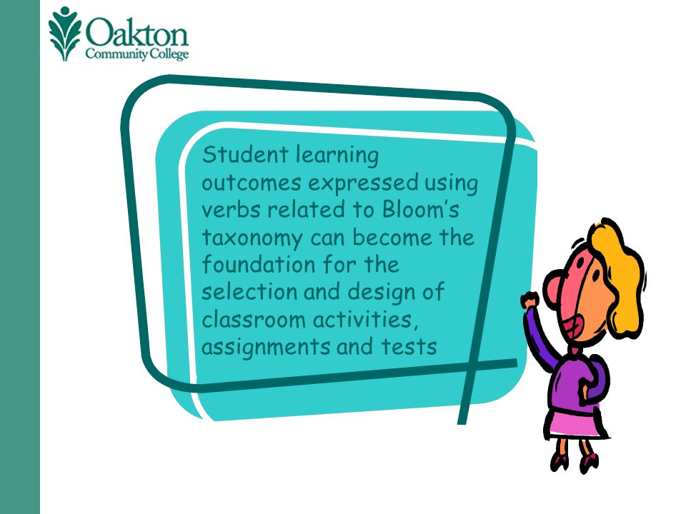 Student learning outcomes expressed using verbs related to Bloom's taxonomy can become the foundation for the selection and design of classroom activities, assignments and tests