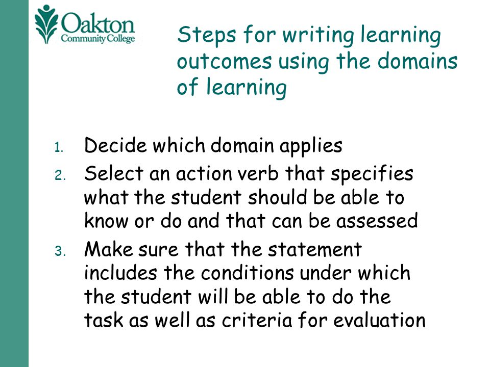 Steps for writing learning outcomes using the domains of learning