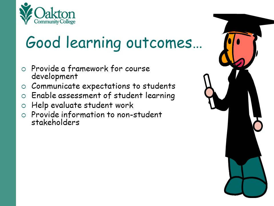 Good learning outcomes…