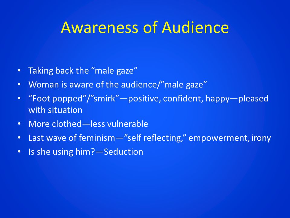 Awareness of Audience Taking back the male gaze