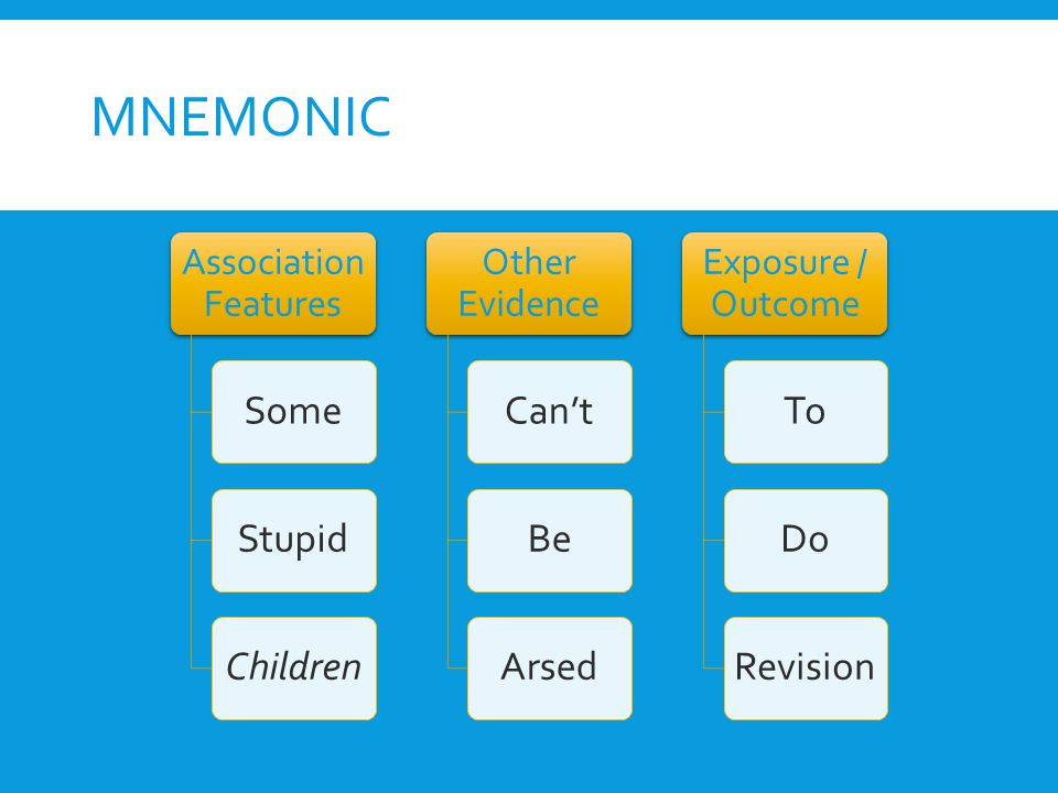 Mnemonic Some Stupid Children Can't Be Arsed To Do Revision