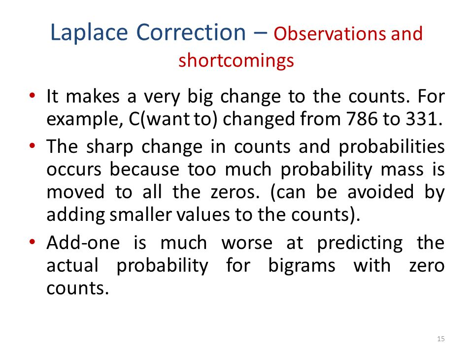Laplace Correction – Observations and shortcomings