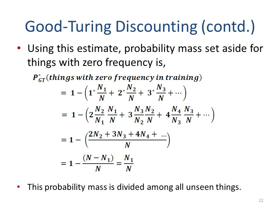 Good-Turing Discounting (contd.)