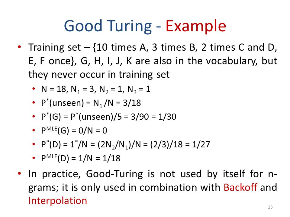 Good Turing - Example