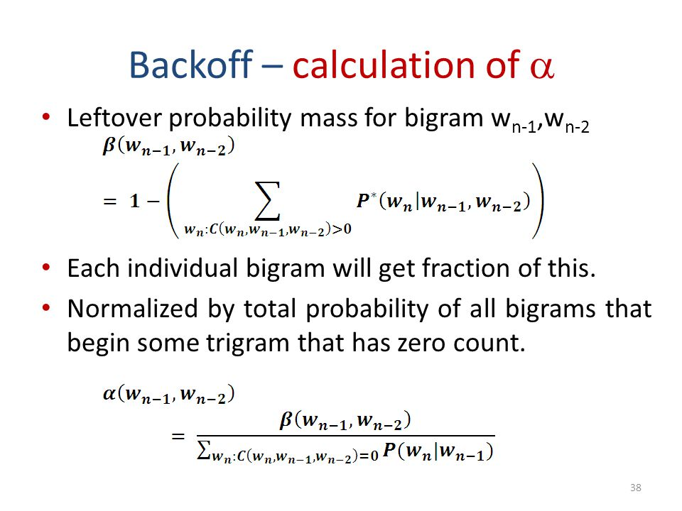 Backoff – calculation of 