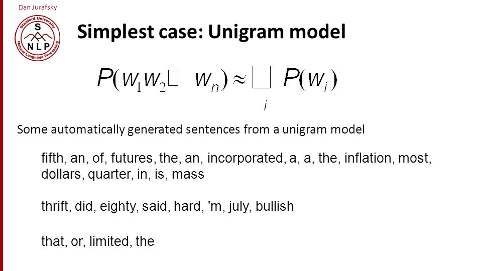 Simplest case: Unigram model