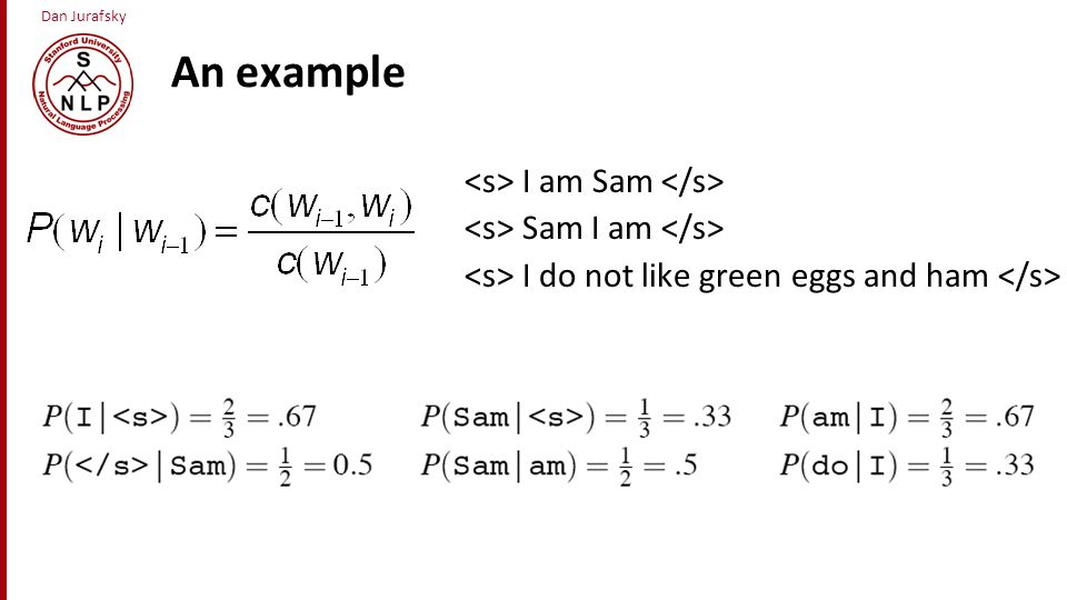An example <s> I am Sam </s> <s> Sam I am </s>