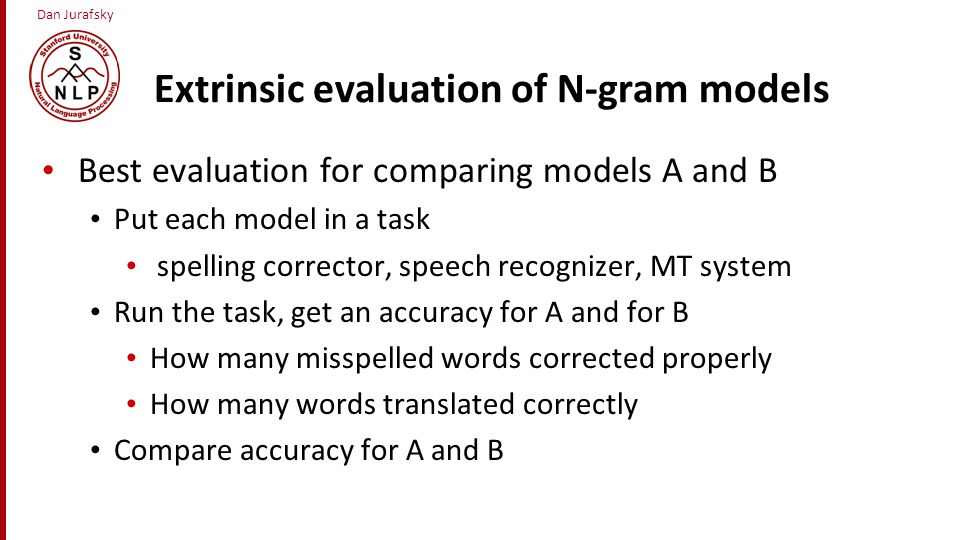 Extrinsic evaluation of N-gram models