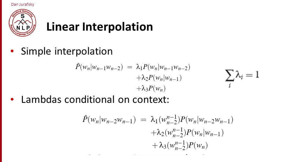 Linear Interpolation Simple interpolation