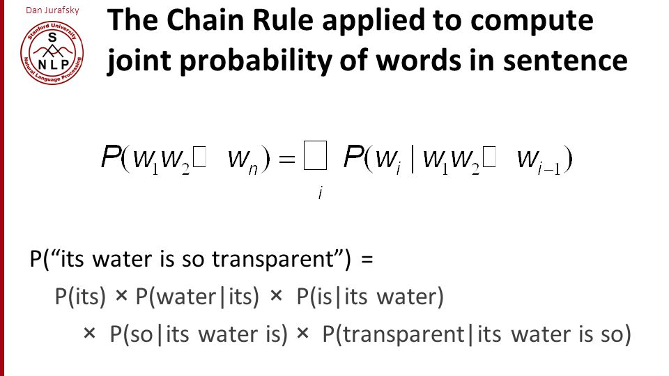 The Chain Rule applied to compute joint probability of words in sentence