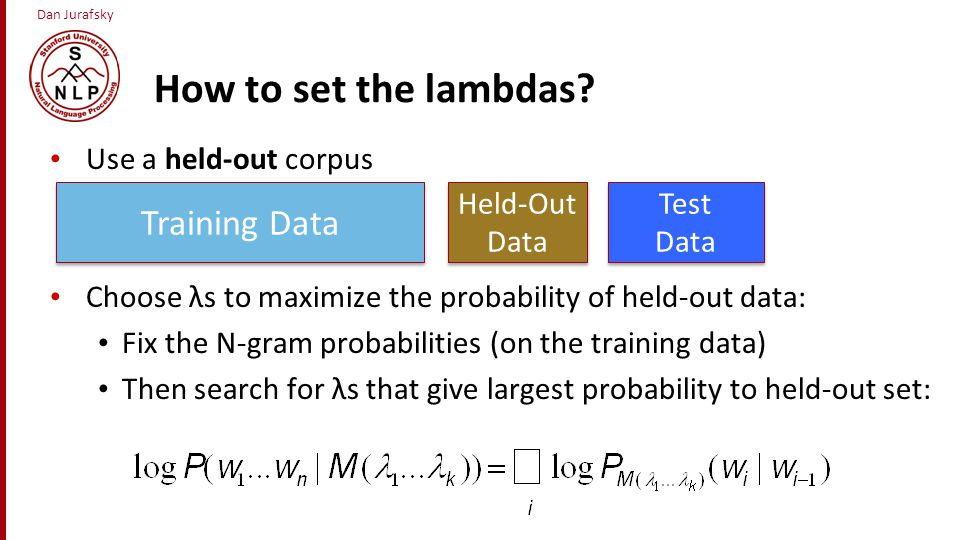 How to set the lambdas Training Data Use a held-out corpus