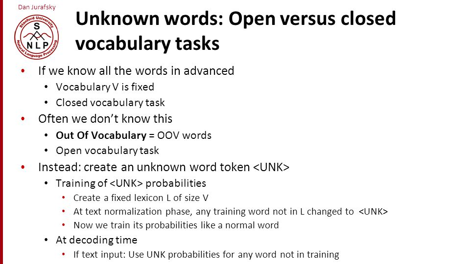 Unknown words: Open versus closed vocabulary tasks