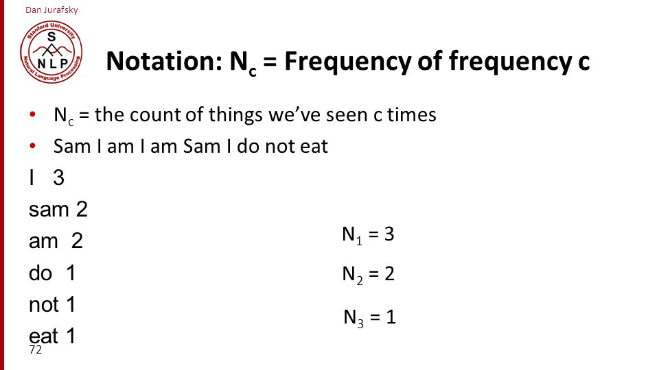 Notation: Nc = Frequency of frequency c