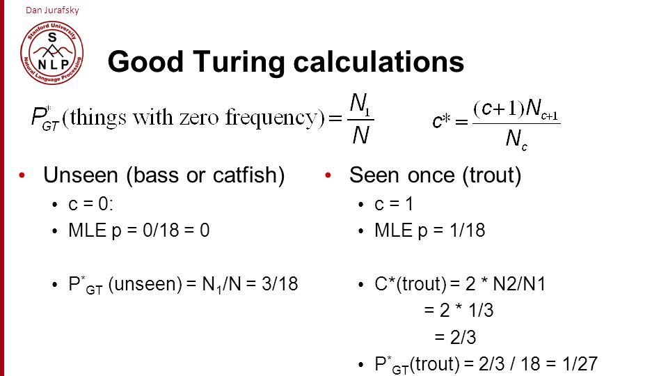 Good Turing calculations