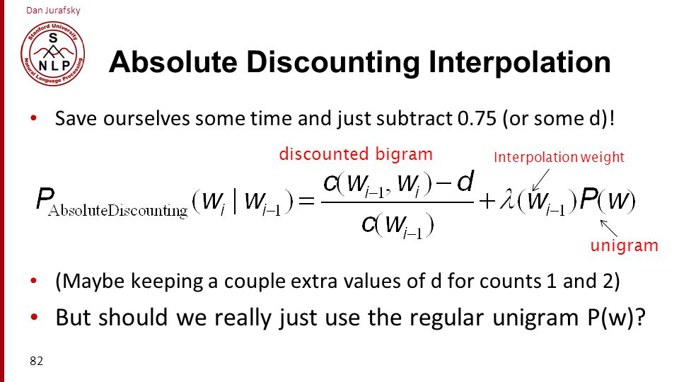 Absolute Discounting Interpolation