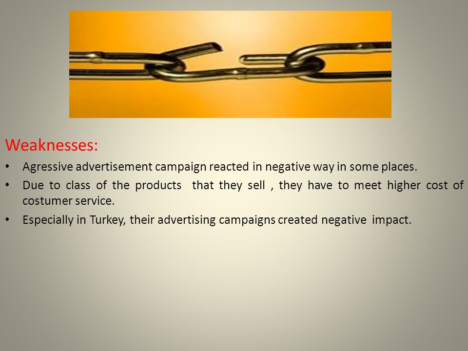 Weaknesses: Agressive advertisement campaign reacted in negative way in some places.