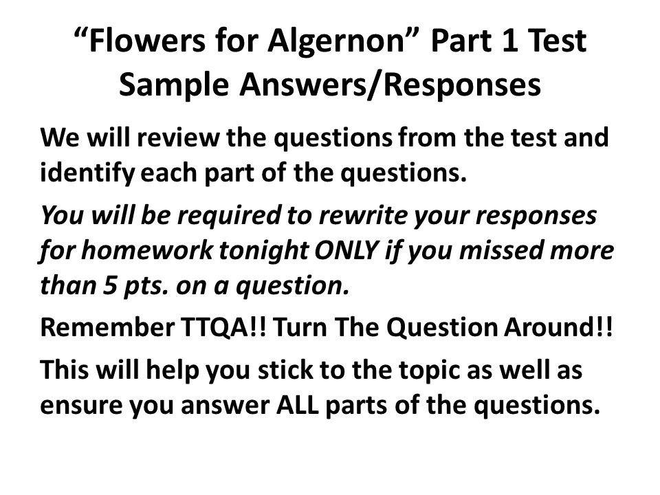 "flowers for algernon"" part test sample answers responses ppt  1 ""flowers"