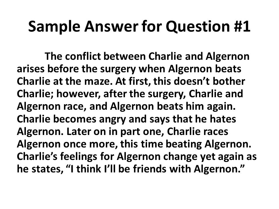 flowers for algernon rdquo part test sample answers responses ppt 3 sample