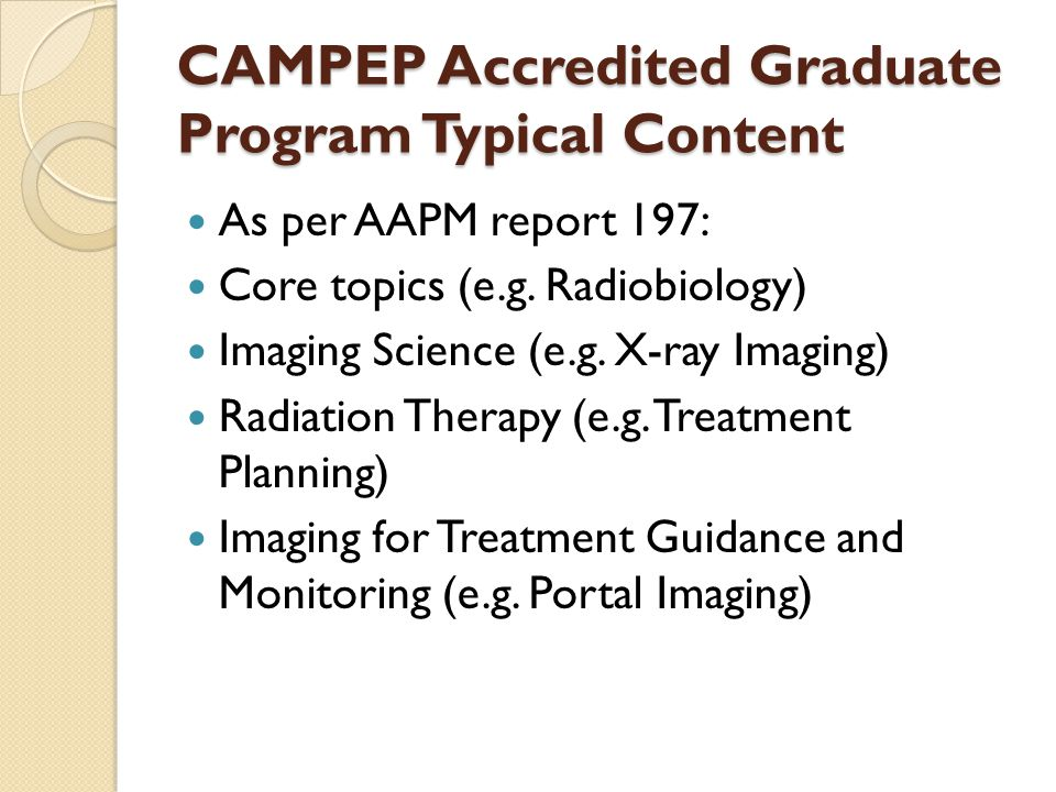 CAMPEP Accredited Graduate Program Typical Content