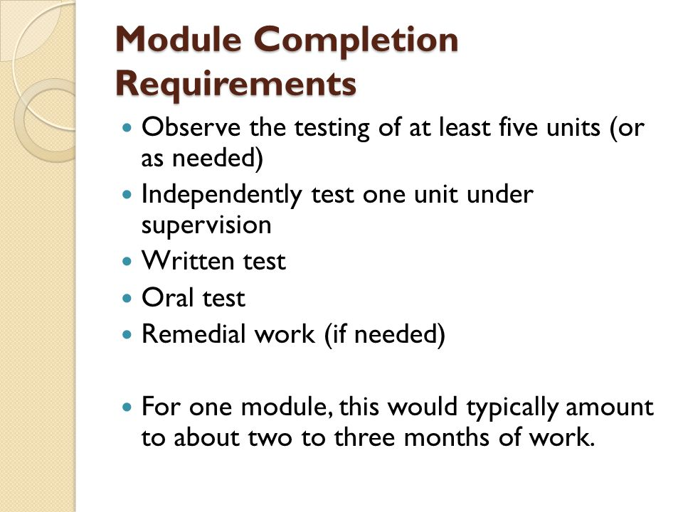 Module Completion Requirements