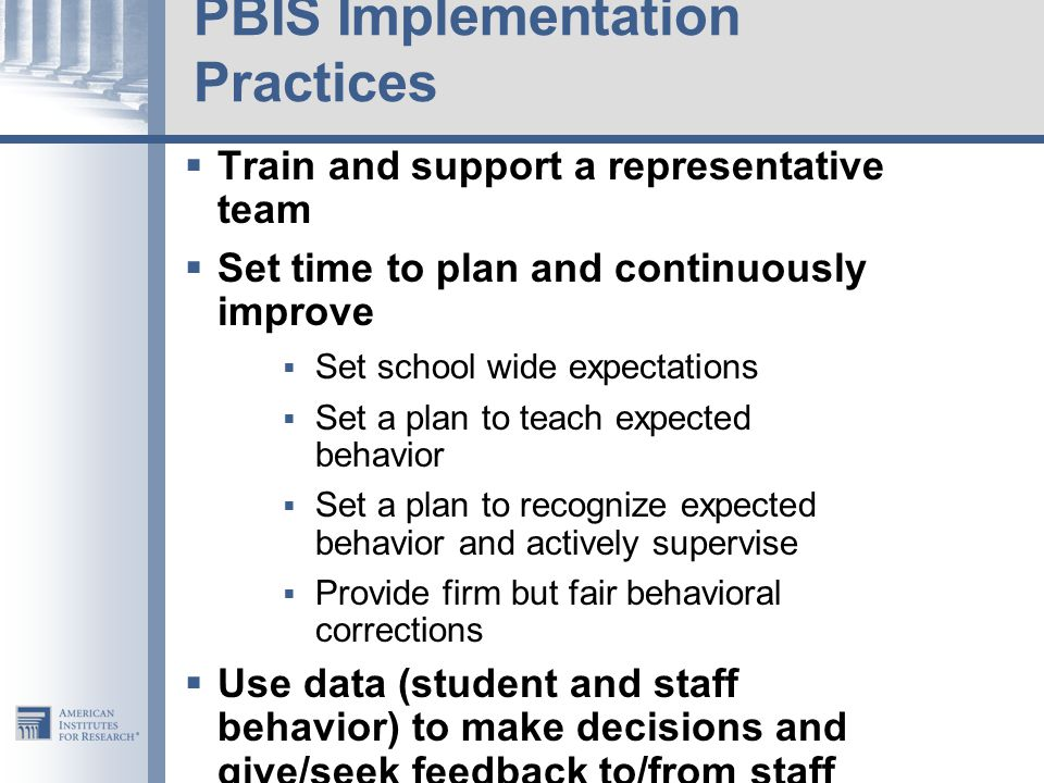 PBIS Implementation Practices
