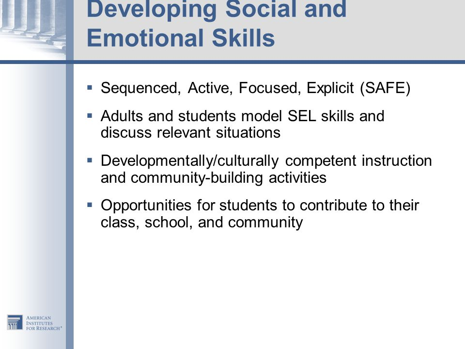 Developing Social and Emotional Skills