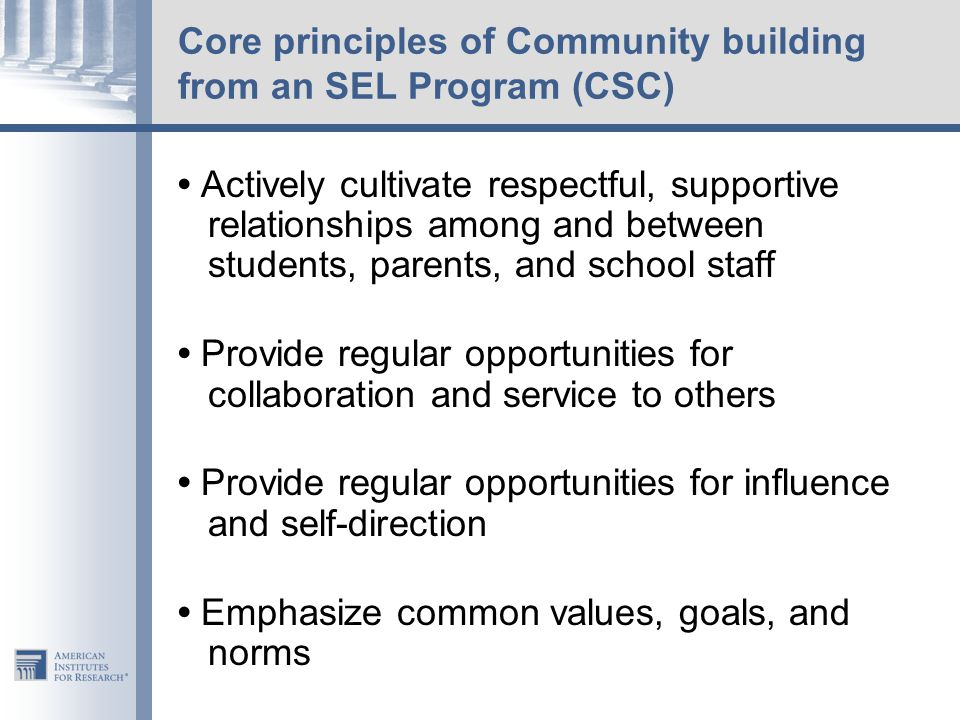 Core principles of Community building from an SEL Program (CSC)