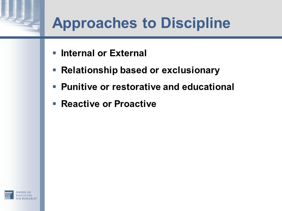 Approaches to Discipline