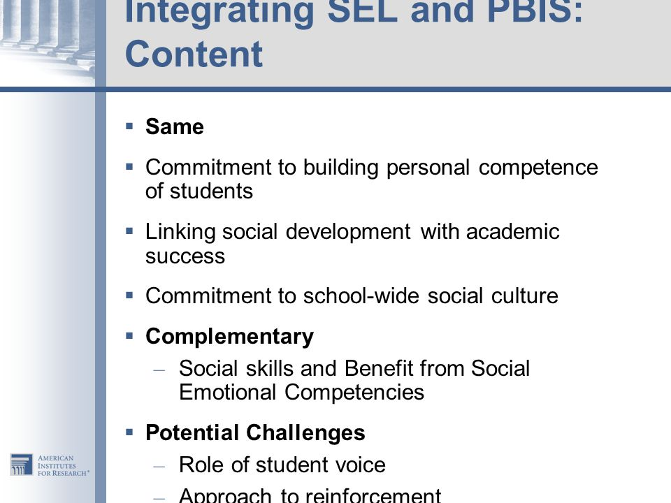 Integrating SEL and PBIS: Content