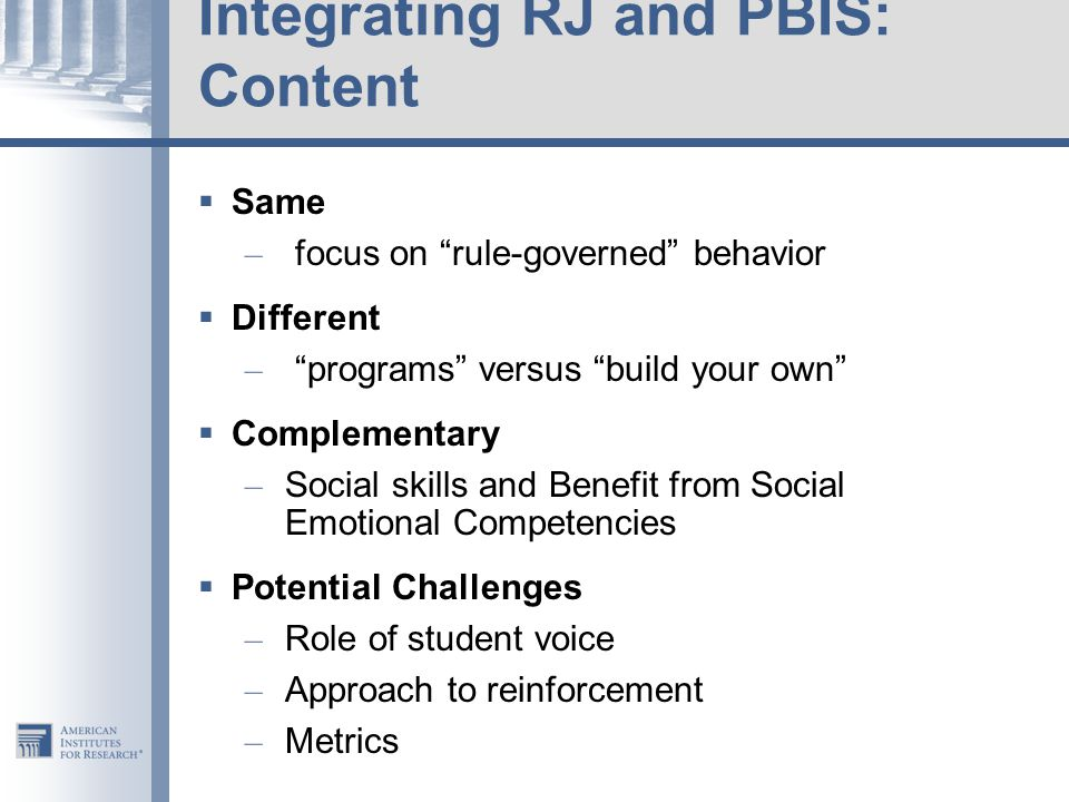 Integrating RJ and PBIS: Content