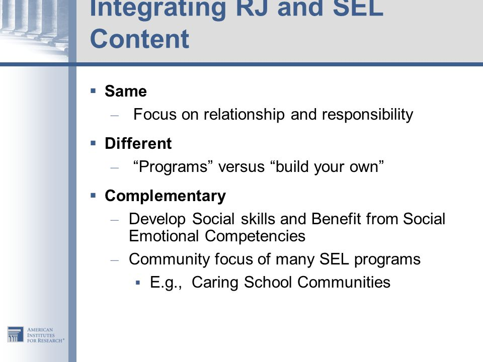 Integrating RJ and SEL Content
