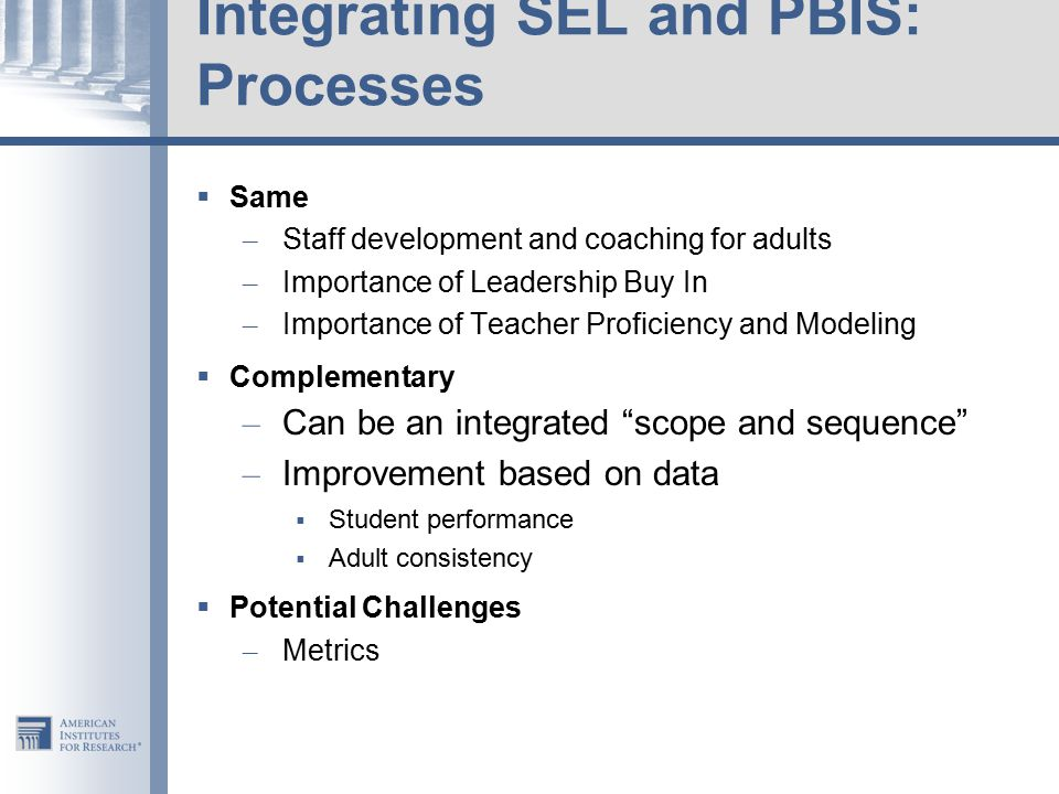 Integrating SEL and PBIS: Processes