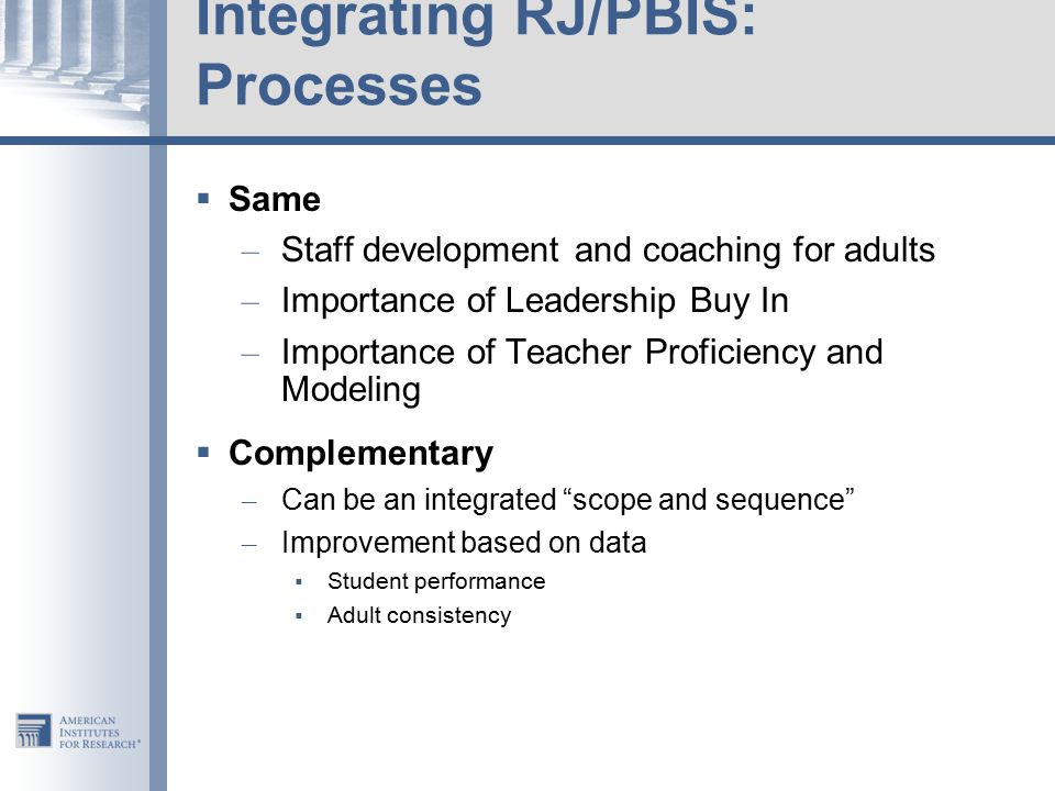 Integrating RJ/PBIS: Processes