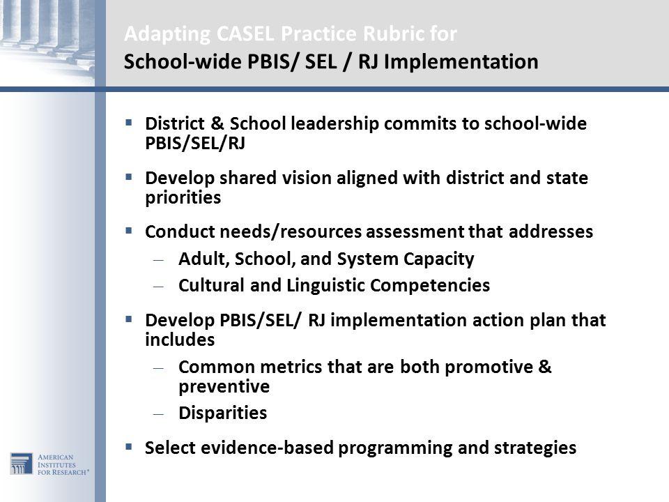 Adapting CASEL Practice Rubric for School-wide PBIS/ SEL / RJ Implementation