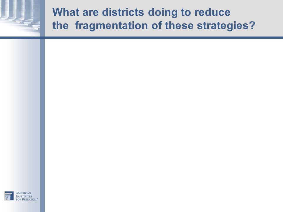 What are districts doing to reduce the fragmentation of these strategies