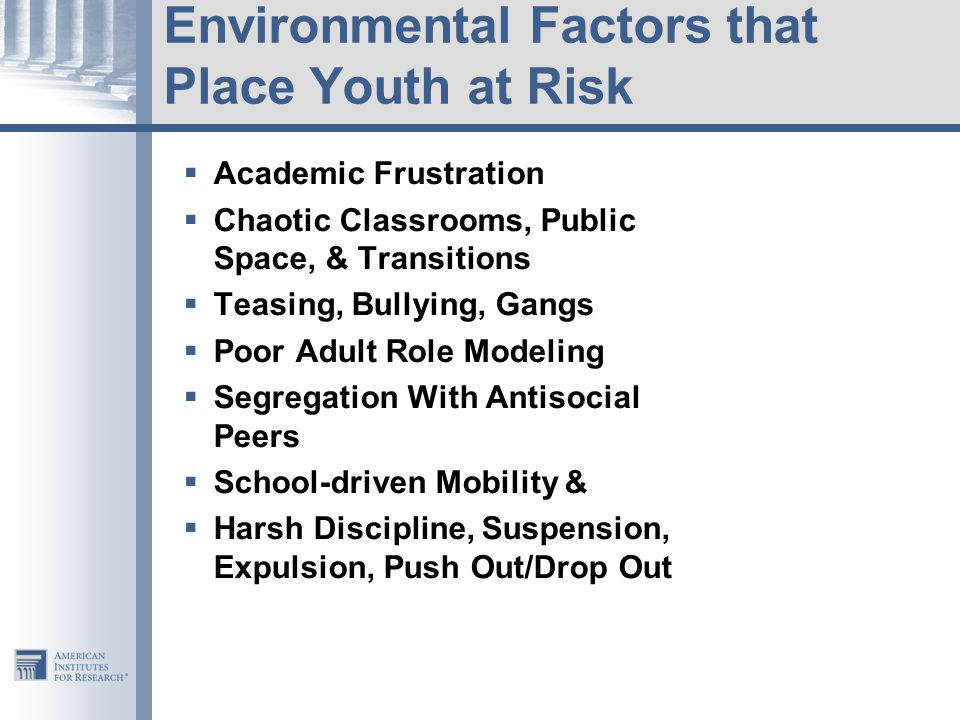 Environmental Factors that Place Youth at Risk