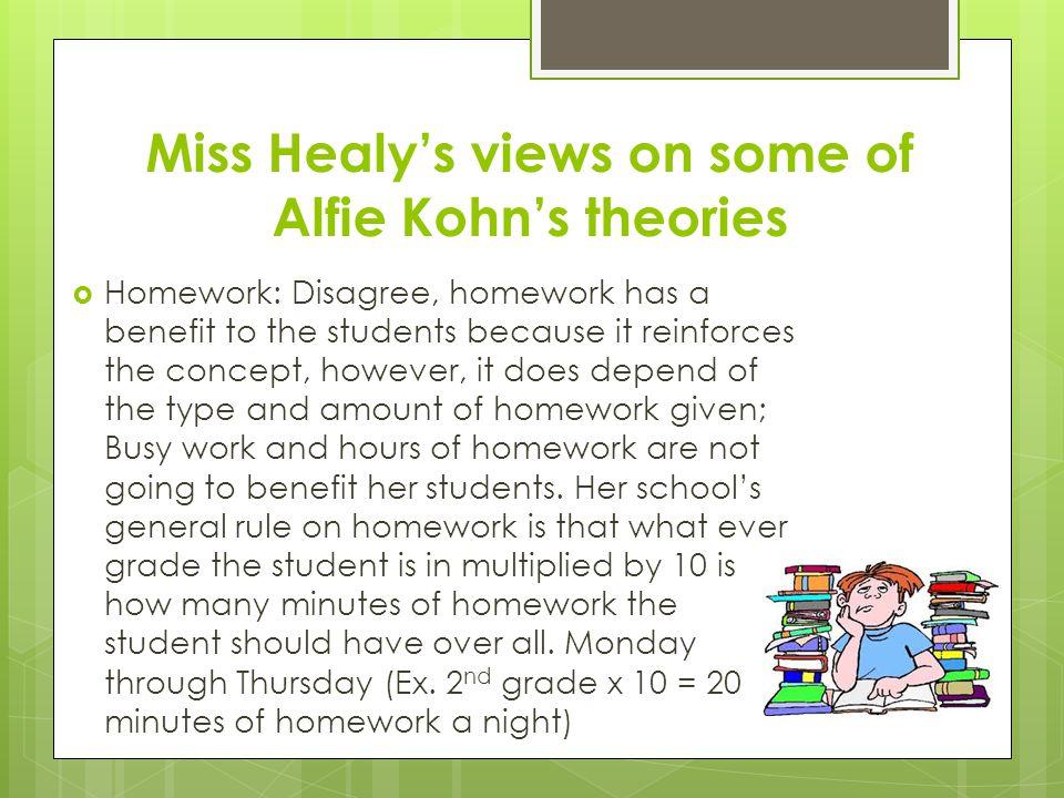 Miss Healy's views on some of Alfie Kohn's theories