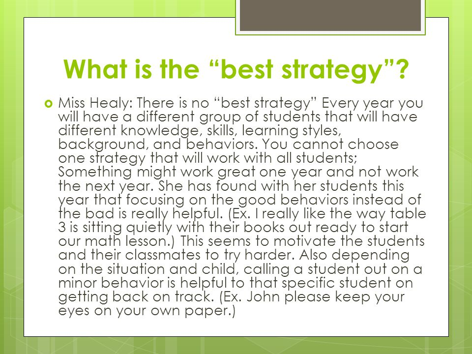 What is the best strategy