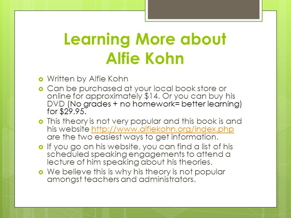 Learning More about Alfie Kohn