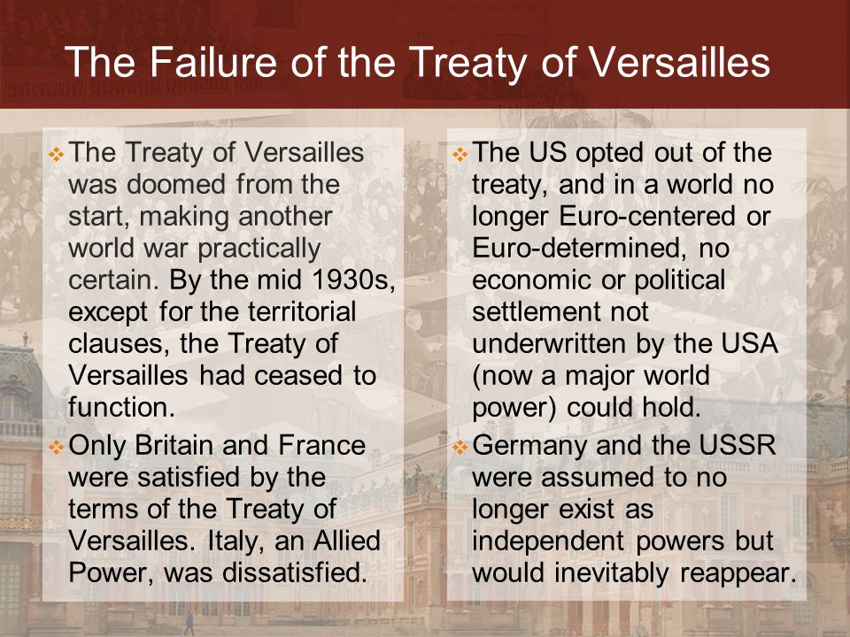 Failure of the Treaty of Versaille