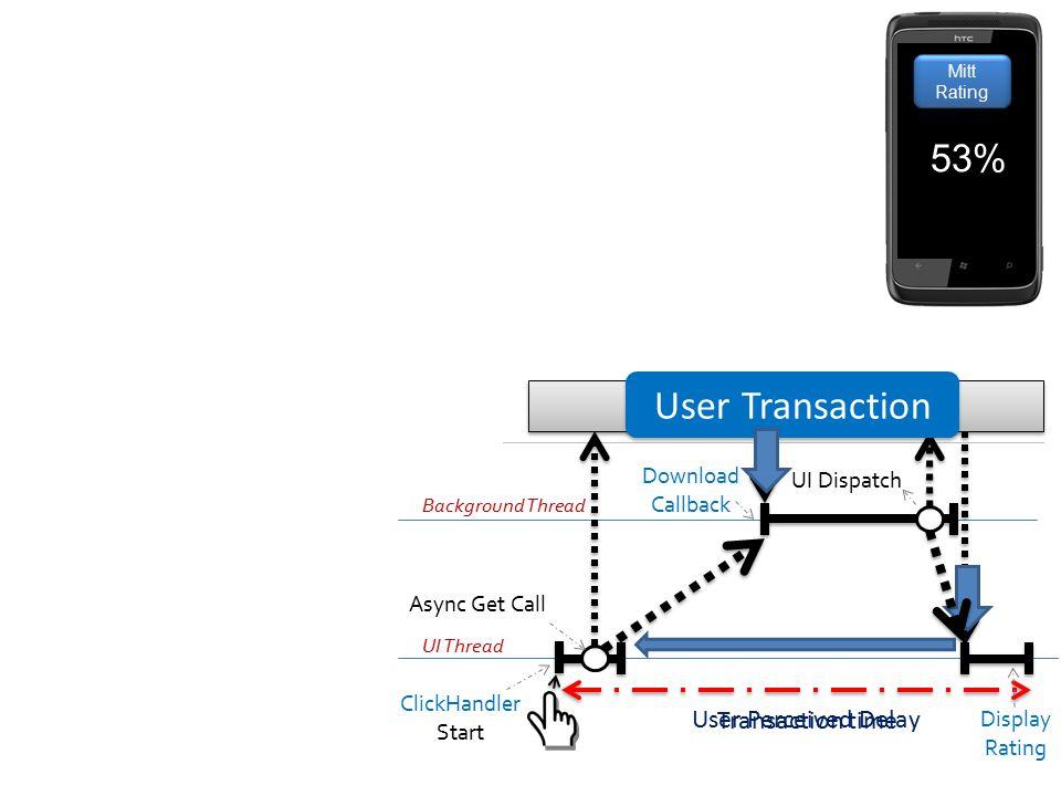System User Transaction 53% User Perceived Delay Transaction time