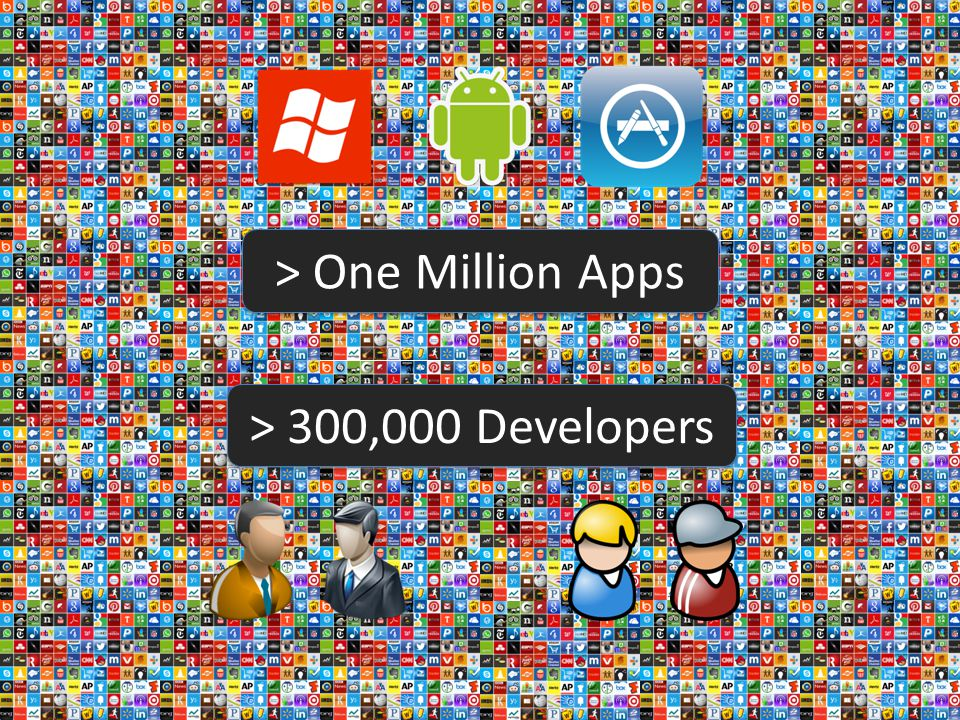 > One Million Apps > 300,000 Developers