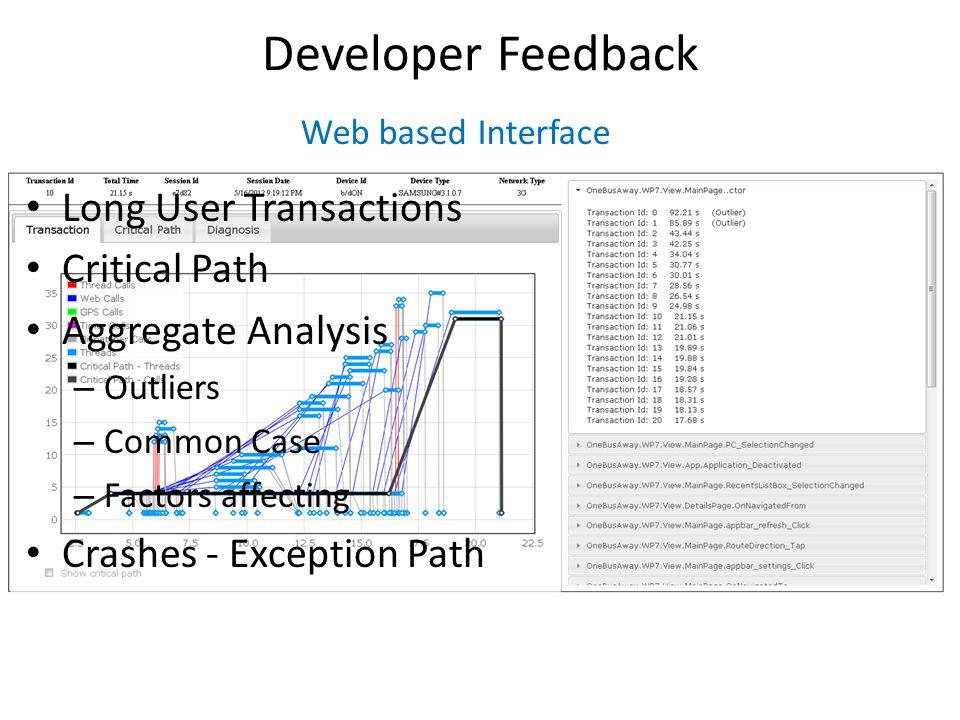 Developer Feedback Long User Transactions Critical Path